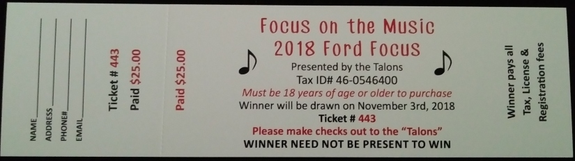 Car Raffle ticket